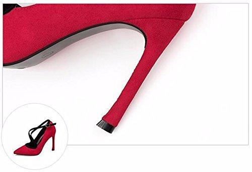 FLYRCX Autunno e Inverno con bocca poco profonda ha sottolineato Fini banda europea tacchi scamosciato donna sexy scarpe personalità di partito B