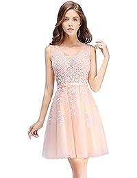 57dbafbc72bc9 MisShow Damen Prinzessin Tüll V-Ausschnitt Brautjunfernkleid Applique  Ballkleid Abendkleid…
