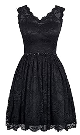 AngelDragon V-Neck Embellished Waist Short Lace Prom Dress Party Dress UK-4 Black