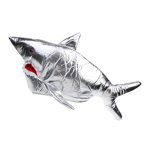 Preisvergleich Produktbild Gazechimp Karneval Zubehör Haifisch Mütze Silber zum Shark Kostüm
