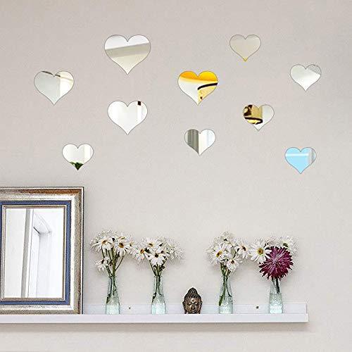 TianranRT 10PCS Wandbild Aufkleber 3D Spiegel Wand Aufkleber Liebe Herz Abnehmbar Aufkleber SL (Silber)