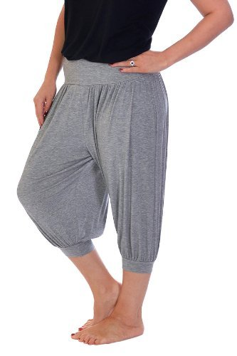Neu Damen Plus Size Harem Hose Geerntet Übergröße Frauen Ebene Leggings Hose Nouvelle Collection 7021 (Silber Grau, Größe 44-46)