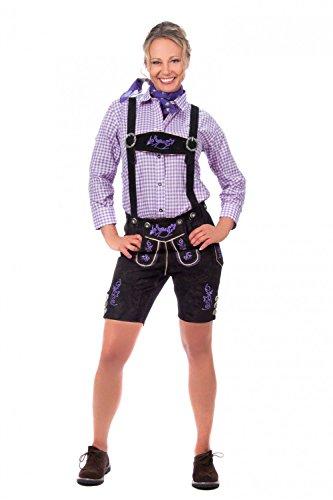 Kurze Damen Trachten Lederhose inkl. Hosenträger schwarz aus feinstem Rindsveloursleder mit lila Stickerei Gr 32-50