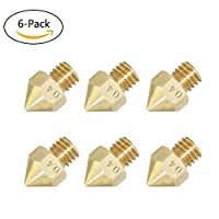 6Pcs Pack 3D Printer Extruders 0.4mm Nozzle 3D Printer Extruder Print Head for MK8 Makerbot 1.75mm (6 Pack)