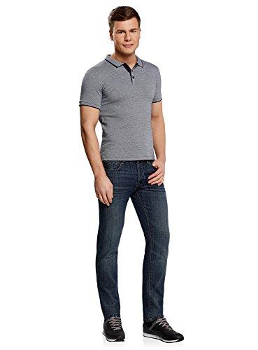 oodji Ultra Herren Jacquard-Poloshirt mit Kontrastbesatz Grau (7910J)