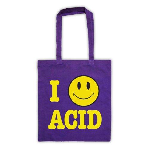 Acido I Love House Smiley Face-Borsa da shopping Viola