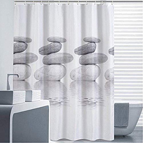 Goldbeing Duschvorhang 180x200 Textil Grau Pebble Schimmelresistenter und Wasserabweisend Shower Curtain mit 12 Duschvorhangringen (180*200cm)