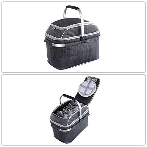 Isolierter Picknickkorb mit Kühlfach Camping-Geschirr und Besteck (Picknick-Tasche, 23 Liter, Kühltasche, abnehmbarer Griff, 29 Zubehörteile)