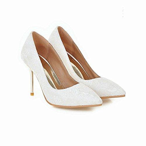 Mee Shoes Damen Stiletto spitz Pailleten Geschlossen Pumps Weiß