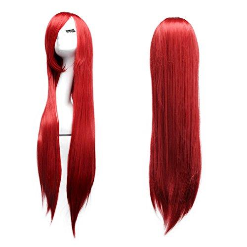 Mit Haaren Roten Cosplay Kostüme (Dazone 100cm glatte Karneval Perücke Rot für Cosplay Mottoparties Halloween,Dammen Langhaarperücke)