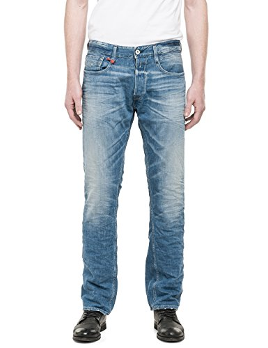 Replay Herren Straight Leg Jeanshose Newbill Blau (Blue Denim 10)