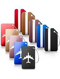 TIMESETL 10 Piezas Etiquetas para Equipaje del Viaje con Cables Aluminio ID Etiquetas de Bolsos/Maleta de 5 Colores Etiquetas Personalizadas del Identificador