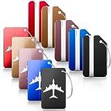 TIMESETL 10 Stück Kofferanhänger Aluminium Flugzeug Gepäckanhänger mit Namensschild Adressschild Gepäckabfertigungsanhänger inkl. Stahlkabel für Reise, Geschäftsreisen (Verschiedene Farbe, Zwei Design)