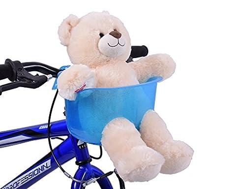 Ammaco Kids Childs Girls Boys Blue Front Teddy Dolly Bike Basket Seat
