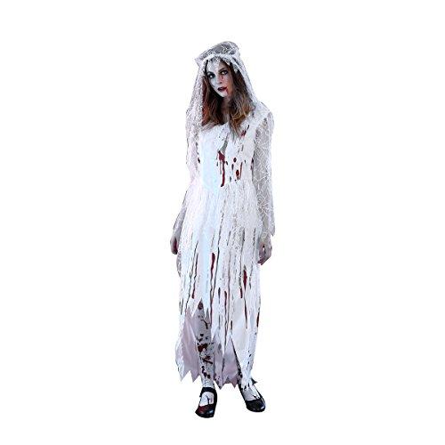 Kostüm Corpse Bride Cosplay - Fenical Frauen Cosplay Blut Corpse Bride Halloween langes Kleid Party Cosplay Kostüm mit Schleier - Größe M (weiß)