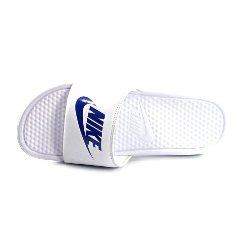 Nike Benassi JDI, Chaussures de Plage & Piscine mixte adulte Blanco / Azul (White / Varsity Royal-White)
