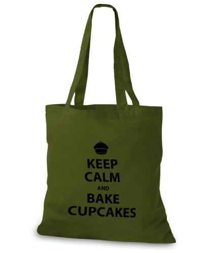 StyloBags Jutebeutel / Tasche Keep Calm and bake Cupcakes Khaki