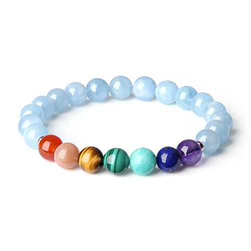 Coai bracciale donna e ragazza con pietre naturali benefiche in acquamarina e perle dei 7 chakra, misura s