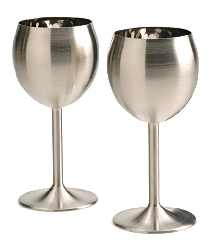 RSVP 8Oz Stainless Steel Wine Glasses/Goblets Keeps Wine Cool Set Of 2 Red White