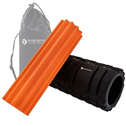"""Sportastisch ? Faszienrolle """"Rock n Roll"""" in orange mit Rillen- und Noppen-Struktur, Tasche und E-book (Massagerolle, Härtegrad weich für Anfänger) Fitnessrolle mit 3 Jahre Garantie"""