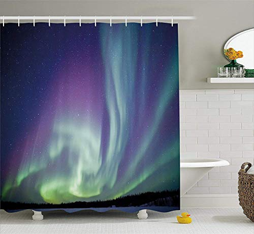 Duschvorhang,Northern Lights Shower Curtain Exquisite Atmosphere Solar Starry Sky Calming Night Image Fabric Bathroom Decor Set with Hooks Mint Green Dark Blue Violet 60X72 Inch - Nights Northern Bettwäsche