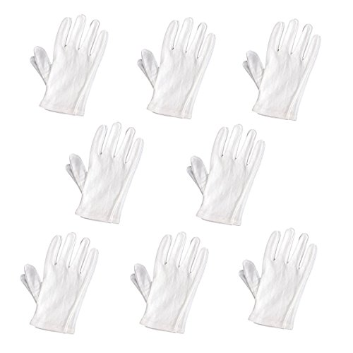 PIXNOR Weiche Baumwolle schützende Handschuh Film Handling Handschuh arbeiten Handschuh - 8 Paaren/Set (weiß) (Baumwoll-münzen-satz)