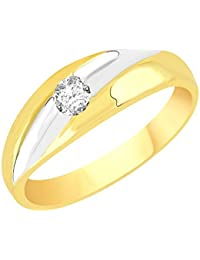 VK Jewels Single Stone Gold And Rhodium Plated Alloy CZ American Diamond Ring For Men [VKFR2633G]