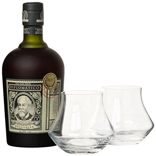 Diplomatico Reserva Exclusiva mit Geschenkverpackung mit 2 Gläsern  Rum (1 x 0.7 l)
