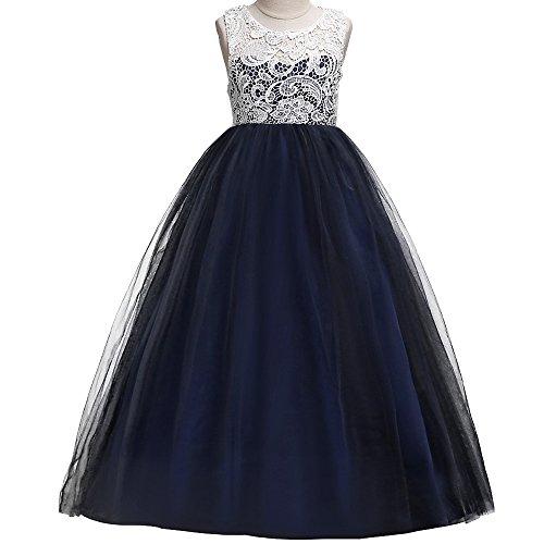 HUAANIUE Stéréoscopique Robe de Princesse Costume Fille Mariage Demoiselle d'Honneur Taille Haute Dentelles Mariage Soirée Pour Noël Bleu foncé 170