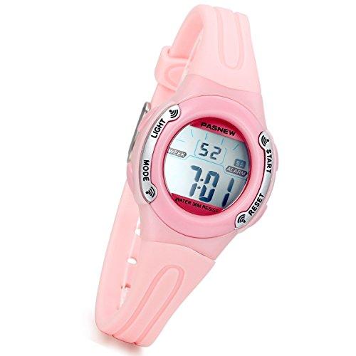 lancardo Digital Chronograph Alarm Datum Ovale Form Harz Gurt Uhr mit Hintergrundbeleuchtung (Pink)