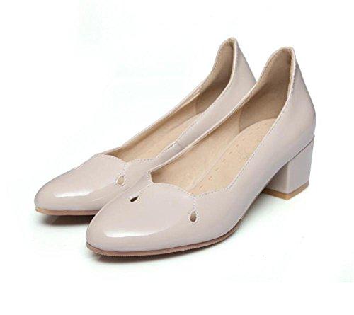Frauen 's Court Schuhe Closed Toe Pumps Einfache Löcher Work Spring Schuhe apricot