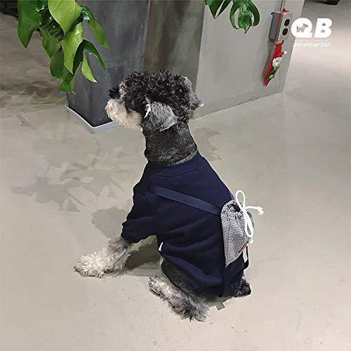 L Pet supplies QB Haustier Hund Rucksack Kleidung Kleiner Hund Frühling sowie Samt niedlichen Pullover Schnauzer Taidibi Bär Kostüm Frühling und Herbst @ Navy_XXL