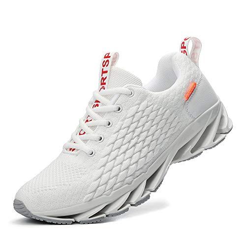 TAIZHOU Zapatillas Running Hombre Mujer Zapatos Deporte Correr Trail Fitness Sneakers Ligero Transpirable36EU,White...