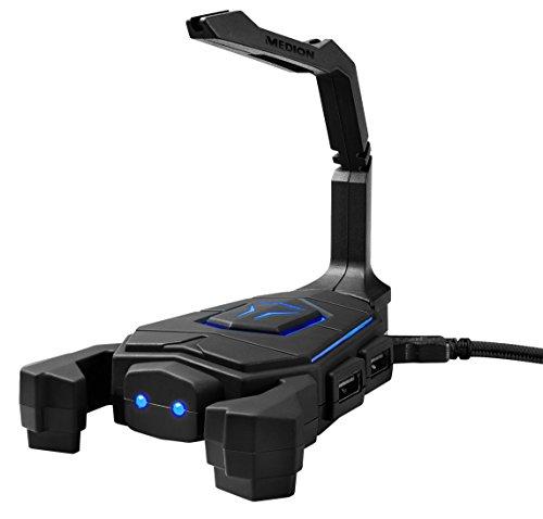MEDION ERAZER Mouse Bungee X89050 MD 87650, LED Beleuchtung, kein verhaken oder stören, hält das Kabel aus dem Aktionsradius, 4 USB Anschlüsse, schwarz (Aldo-computer)