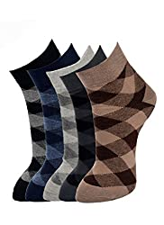 MARC CHECK DESIGN MENS COTTON ANKLE 5 PAIRS SOCKS PACK