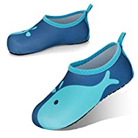JOTO Water Shoes for Kids, Children Barefoot Quick-Dry Aqua Water Socks Slip-on Swim Beach Shoes for Girls and Boys Toddler -Navywhale
