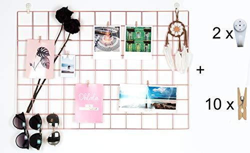 DIY Foto Wandgitter Schwarz Metall Gitter Memoboard Gitterwand Wand Organizer Foto Wand Gridpanel (Rosé)