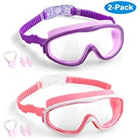 Vetoo 2-PACK Kids Swimming Goggles Junior Children Girls Boys Early Teens Age 3-15, with Anti-Fog, Waterproof, UV Protection, Crystal Clear Wide Vision