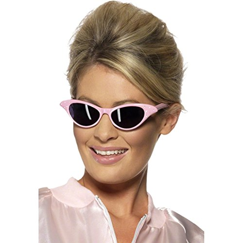Rosa 50er 60er Jahre Sonnenbrille Retrosonnenbrille Rosa Retro Sonnenbrille Hippiebrille Rock n Roll Sechziger Brille (Jahre 50er Sonnenbrille)