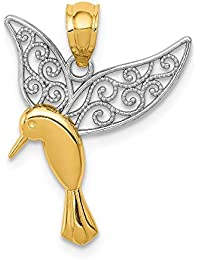 Diamond2Deal - Colgante de alas de filigrana de colibrí pulido chapado en oro amarillo de 14