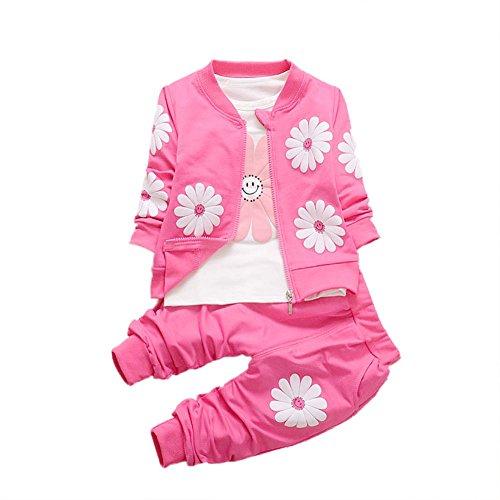 Baywell Mädchen Herbst Kleidung Set, Baby Mädchen Sonnenblume Jacke T-Shirt Hosen Baby Sweatshirt Freizeitkleidung (M/2Jahre, Rose)