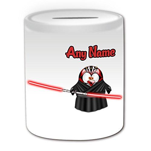 Regalo personalizado–Darth Maul caja de dinero (pingüino película carácter tema de diseño, color blanco)–cualquier nombre/mensaje en su único–disfraz de superhéroe Movie Hero Star Wars Jedi sable de luz láser Espada dual-bladed Personal de sable