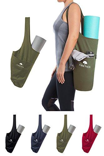 Yoga Tasche Für Yogamatte Mit Tragegurt - Sporttasche Für Damen Für Trainingsmatte, Jogamatte, Fitnessmatte, Gymnastikmatte - Gym Bag Zum Umhängen mit 2 Fächern - Reißverschlussfach Für Wertsachen Grün