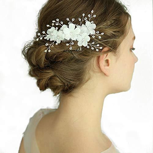 Kercisbeauty handgefertigte Hochzeit Weiß Blume Gold Blatt Silber Haar Kämme mit Strass Perlen für Braut Rustikal Hochzeit Haarschmuck für Frauen Brautschmuck Kopfschmuck