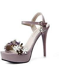 YAN Sandalias de tacón Alto de Las Mujeres 2019 Nueva Hebilla Flor 12CM Super Tacones Altos, Peep Toe Stiletto/Zapatos de Vestir…
