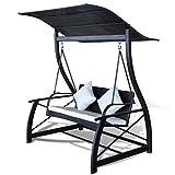 mewmewcat Hollywoodschaukel Gartenschaukel mit Sonnendach Poly Rattan 167x130x178 cm Schwarz und Cremeweiß
