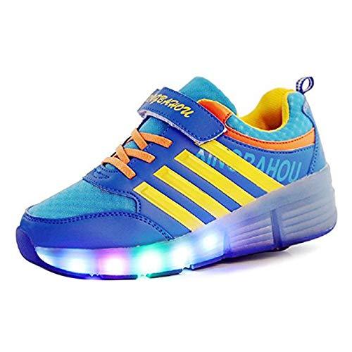 COSHOES Schuhe mit Rollen Skateboardschuhe für Jungen Mädchen Kinder Schuhe Sportschuhe Turnschuhe Laufschuhe Sneakers mit Rollen Rollschuhe Led Wheels Schuhe Blau 28