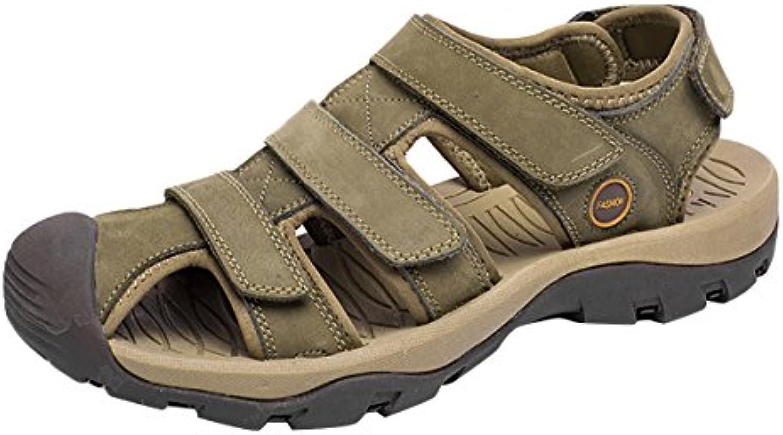 SK Studio Punta Cerrada Sandalias Hombre Trekking de Cuero Talla Grande Transpirables Zapatos Con Velcro