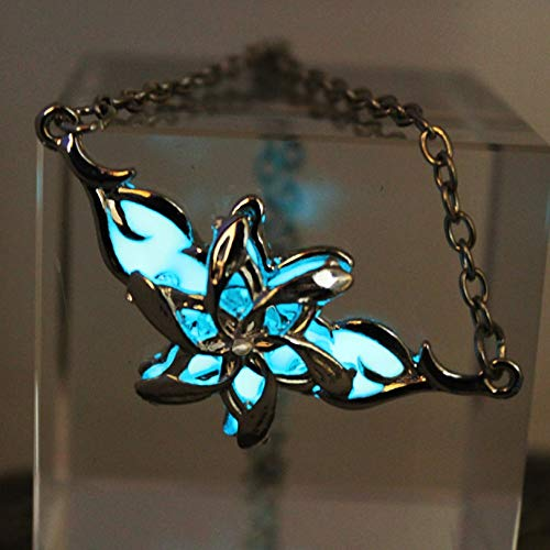 Glühende Nacklace Lord Hobbit Silver Flower Luminous Necklace Female Fairy Queen Street Pendant Glow In The Dark Gift