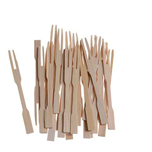 Suxidi 100pcs 8,9cm bamboo party forchette mini forchette buffet fruit picks